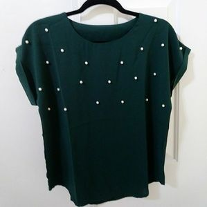 Emerald Blouse with Pearl Bead Accents
